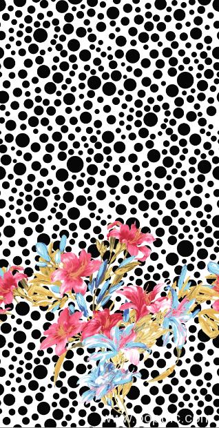圆点花朵拼接矢量图纺织面料水印数码印花花型文件金昌分色稿A2745-POP花型网
