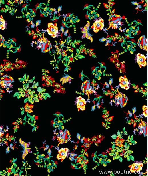 金昌花型多彩花朵蝴蝶矢量图纺织面料印花图案A2770-1-POP花型网