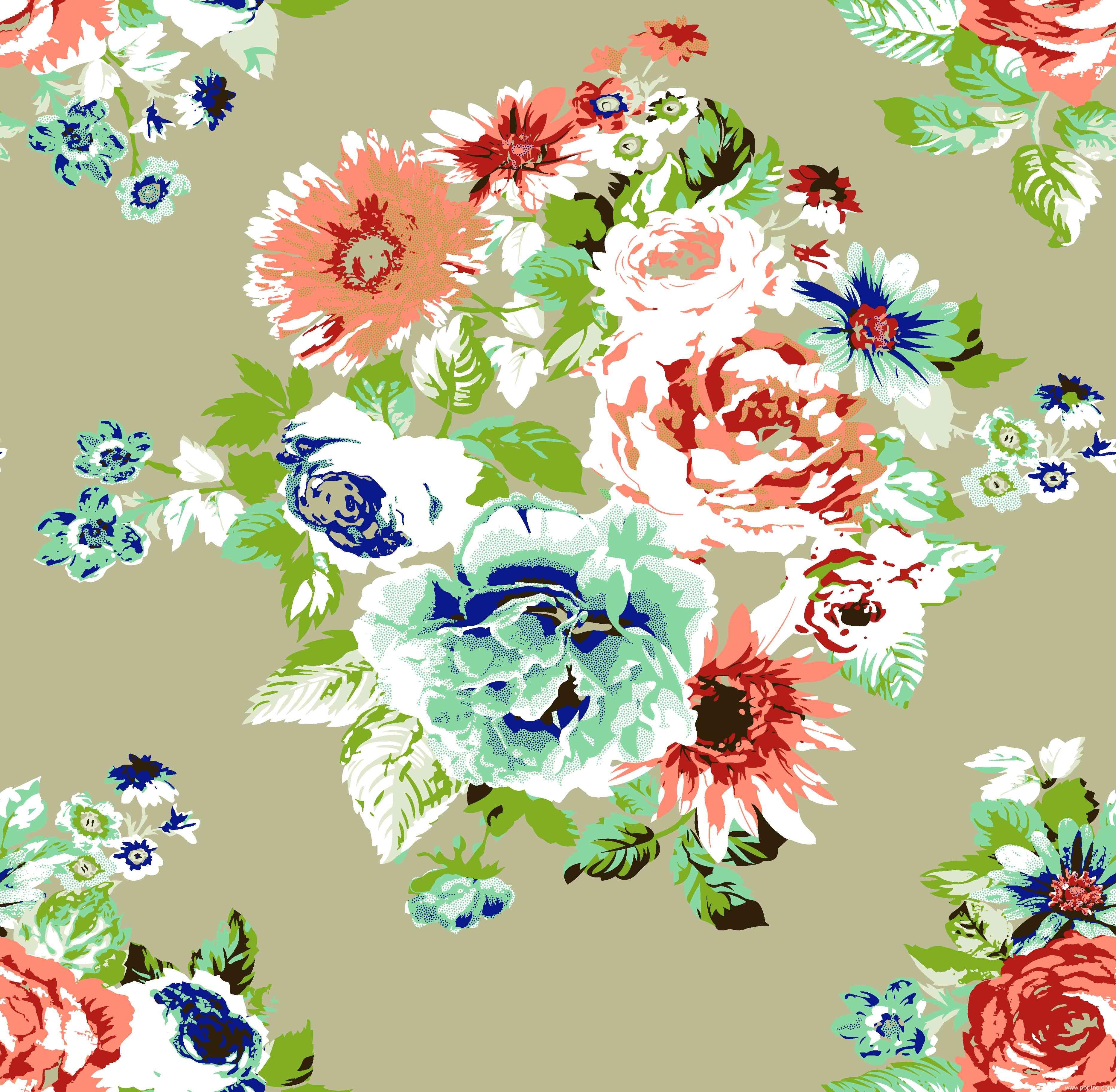 服装纺织面料印花花型牡丹花几何图金昌分色稿源文件A2768-3-POP花型网