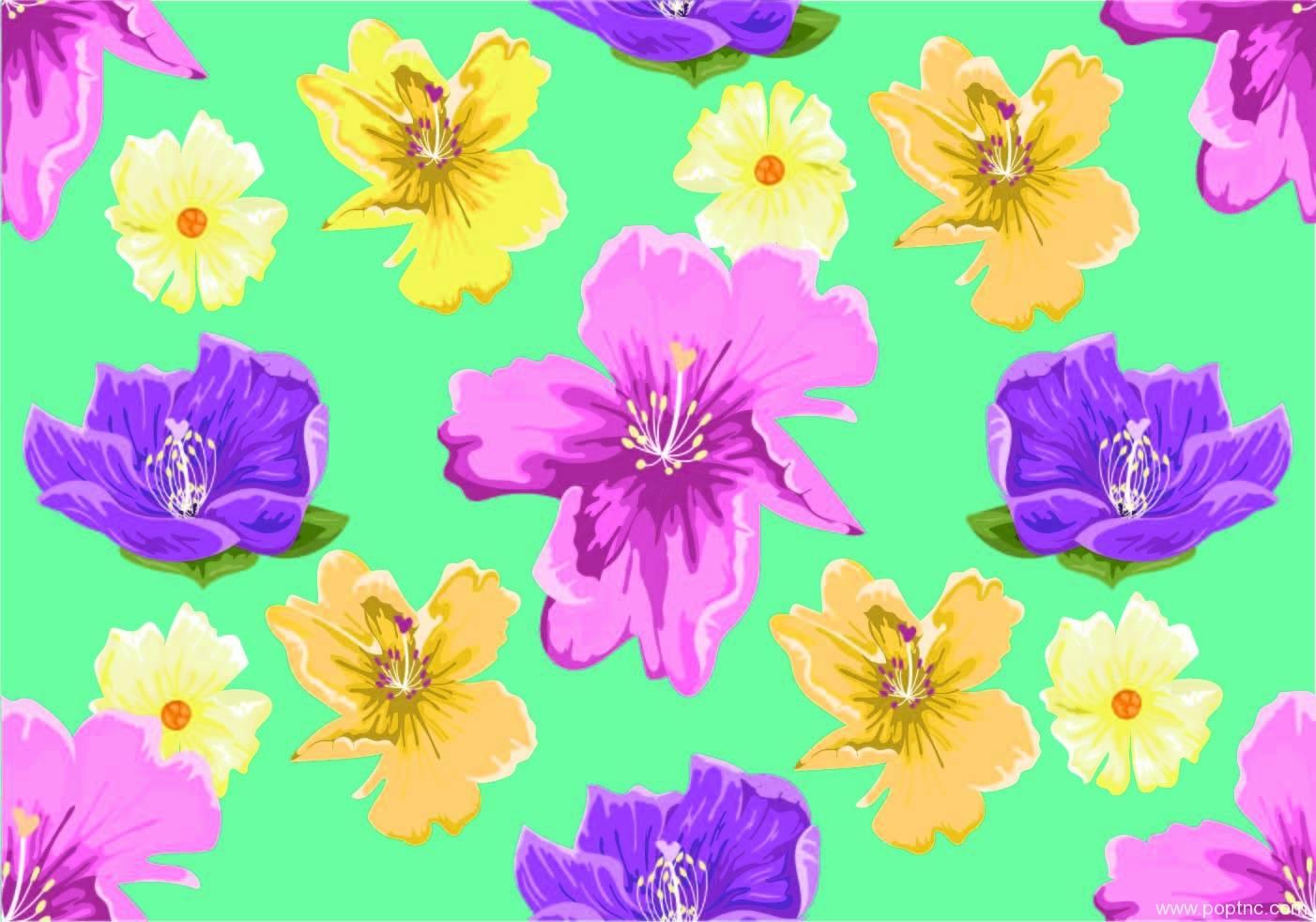 绿色底花朵拼接矢量图-POP花型网