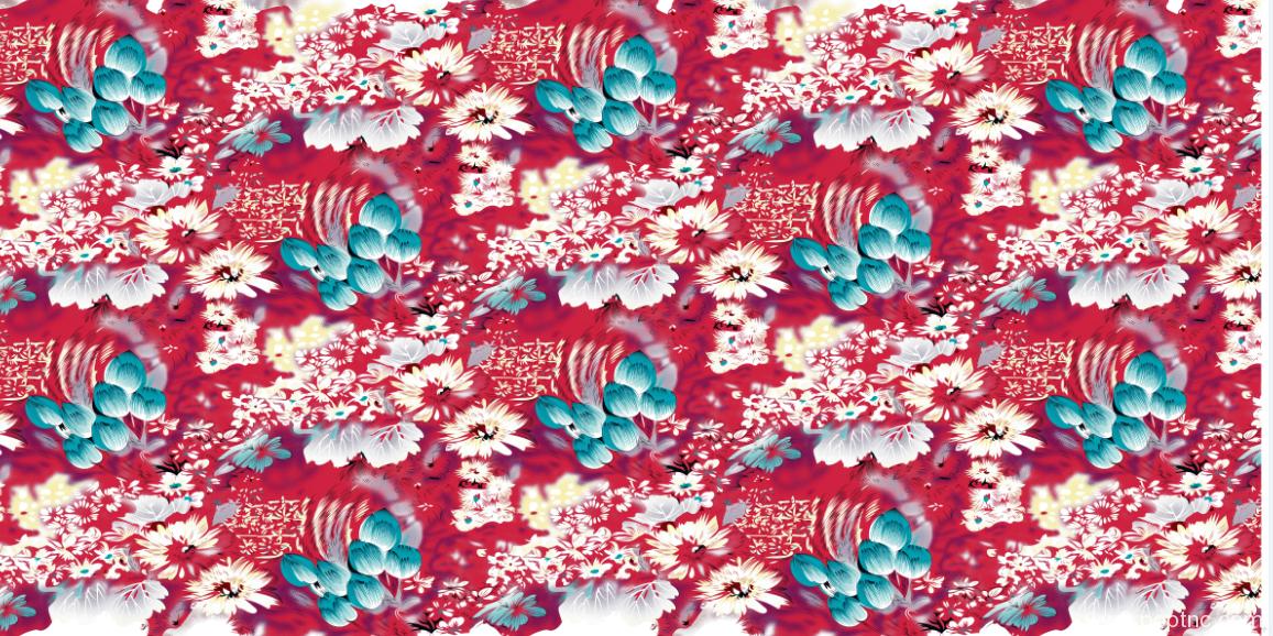 含苞待放荷花植物花卉矢量图纺织面料水印数码印花金昌源文件-POP花型网