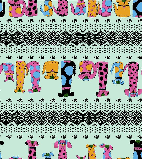 卡通动物小狗几何花纹拼接矢量图服装纺织面料水印数码印花金昌花型素材-POP花型网
