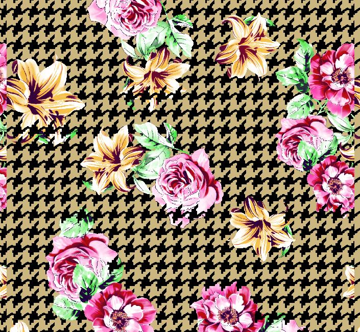 几何千鸟格牡丹花矢量图服装纺织面料水印数码印花金昌花型素材-POP花型网