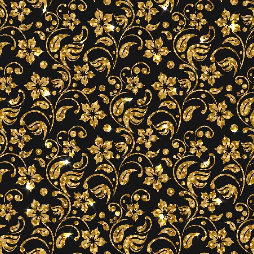 金色花纹数码印花矢量图-POP花型网