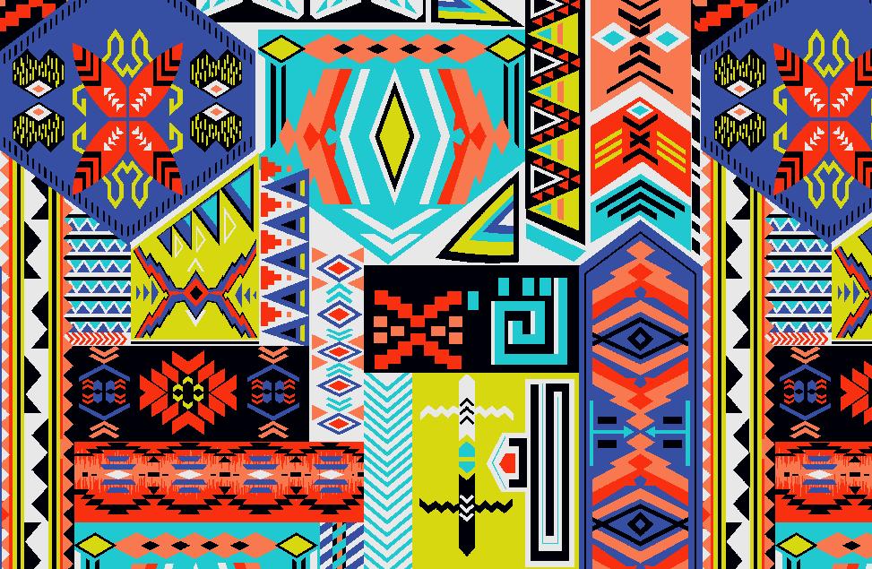 多彩几何民族风花纹矢量图服装纺织面料水印数码印花金昌花型素材-POP花型网