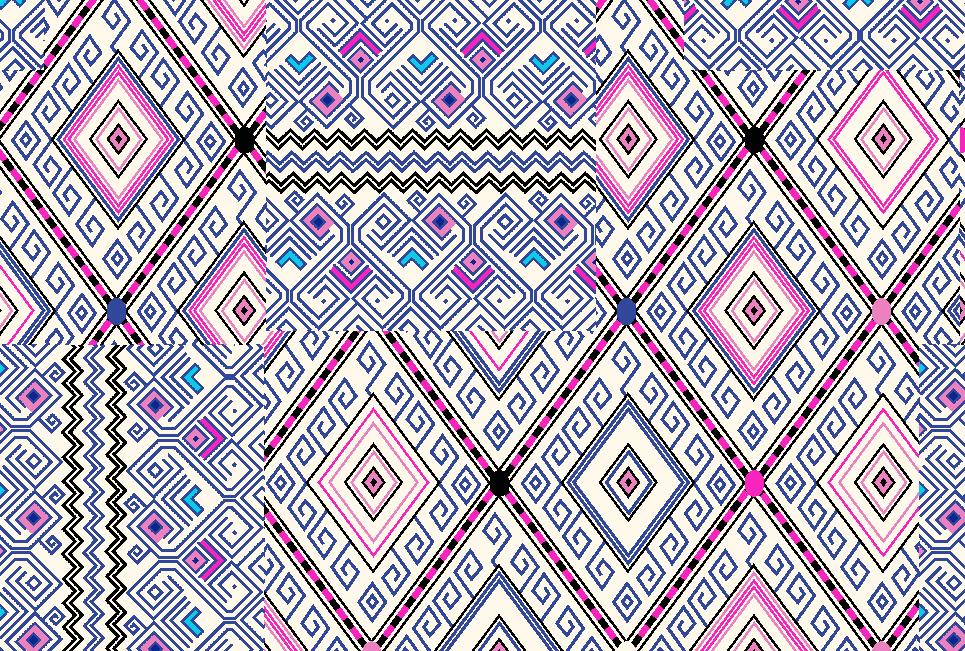 多彩几何花纹拼接矢量图服装纺织面料水印数码印花金昌花型素材-POP花型网