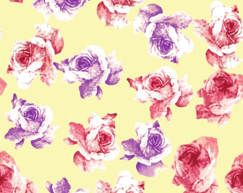几何植物玫瑰花卉矢量图服装纺织面料水印数码印花金昌花型素材-POP花型网