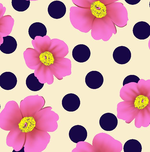 几何圆点花朵拼接矢量图服装纺织面料水印数码印花金昌花型素材-POP花型网
