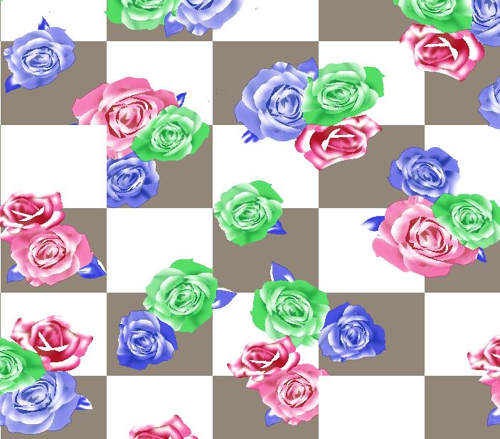 格子方块玫瑰花拼接矢量图服装纺织面料水印数码印花金昌花型素材-POP花型网