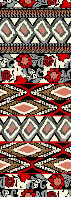 几何图案花朵拼接矢量图服装纺织面料水印数码印花金昌花型素材-POP花型网