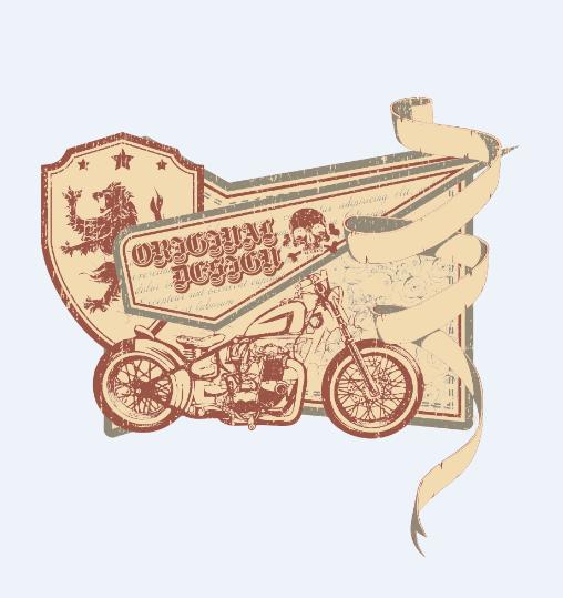 复古摩托车字母骷髅头花纹服装裁片T恤烫图印花花型素材-POP花型网