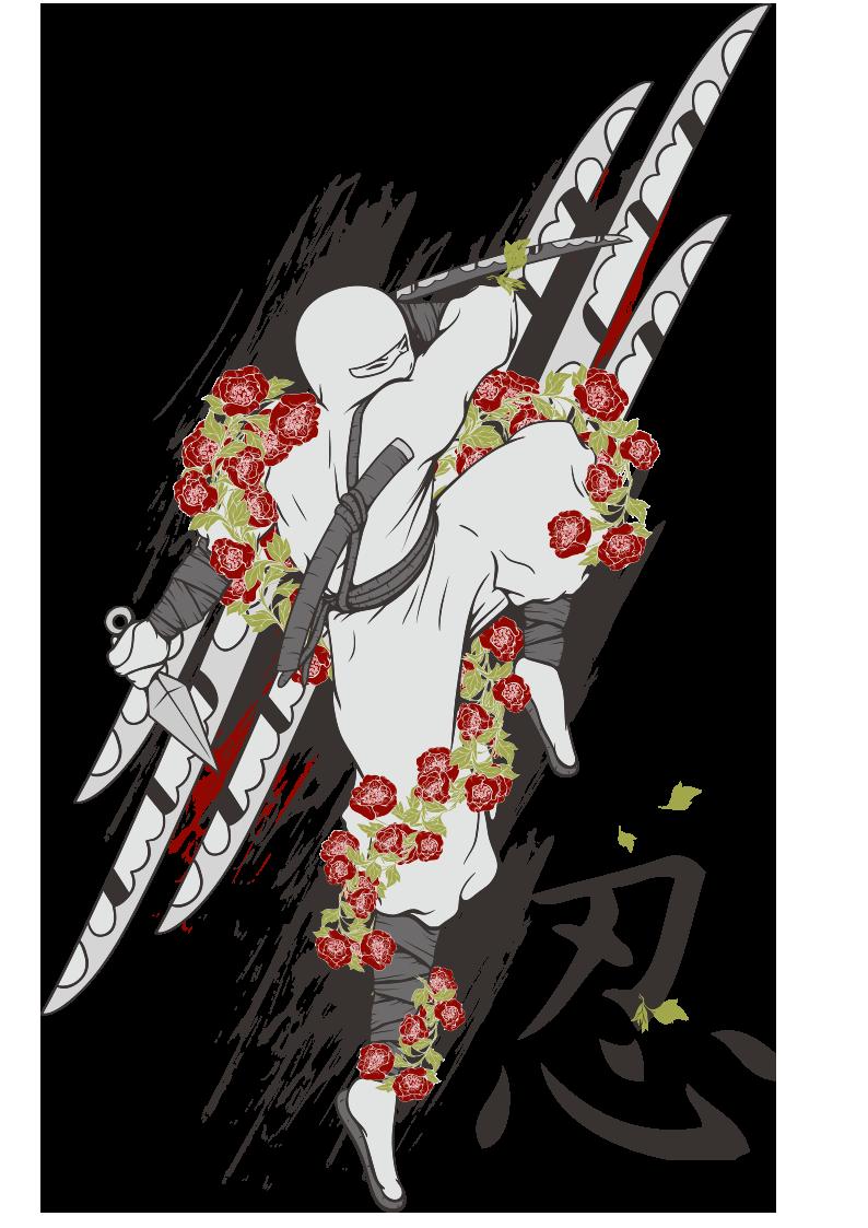 日本忍者牡丹花拼接图案服装裁片T恤烫图印花花型素材-POP花型网