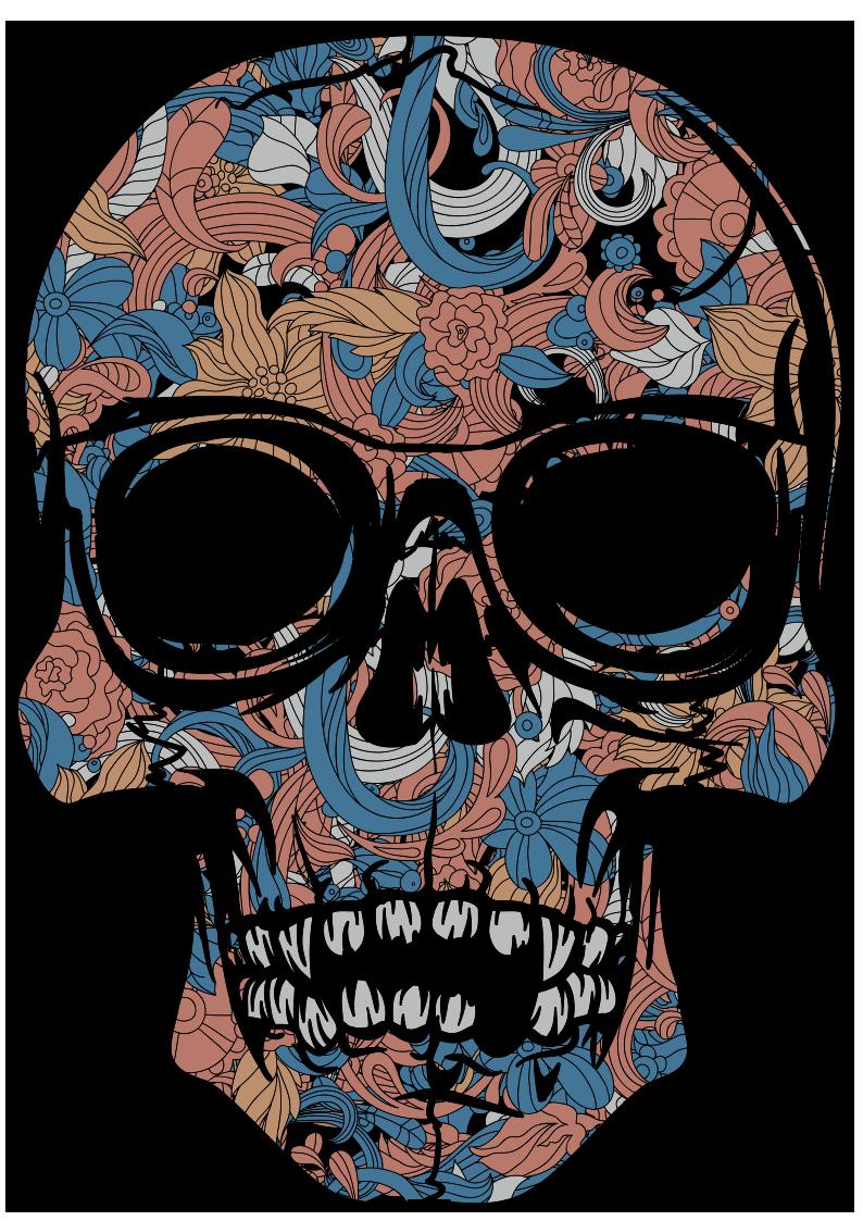 植物花纹拼接骷髅头图案服装裁片T恤烫图印花花型素材-POP花型网