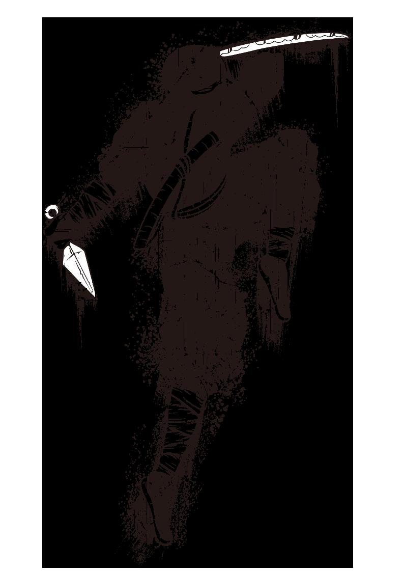 几何涂鸦忍者图案服装裁片T恤烫图印花花型素材-POP花型网