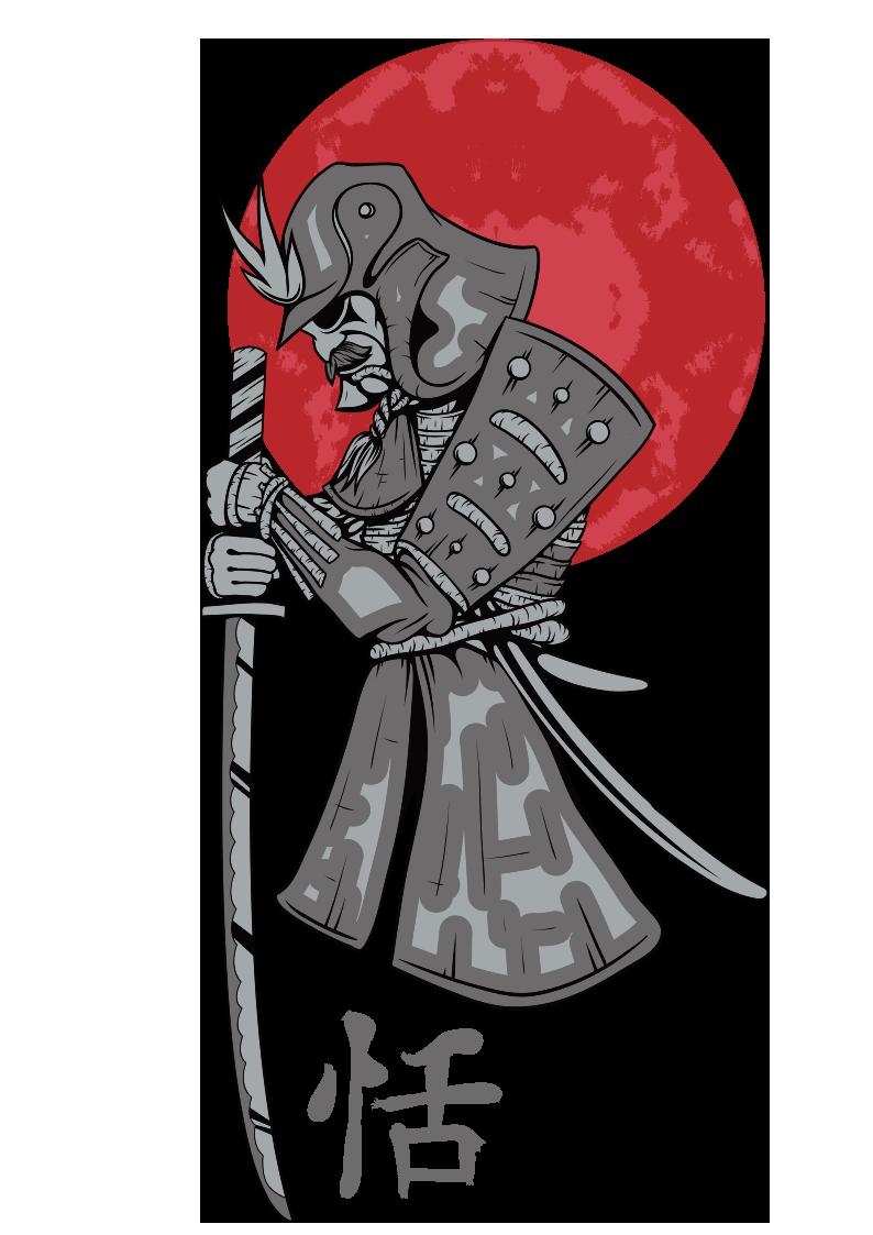 日本武士图案服装裁片T恤烫图印花花型素材-POP花型网