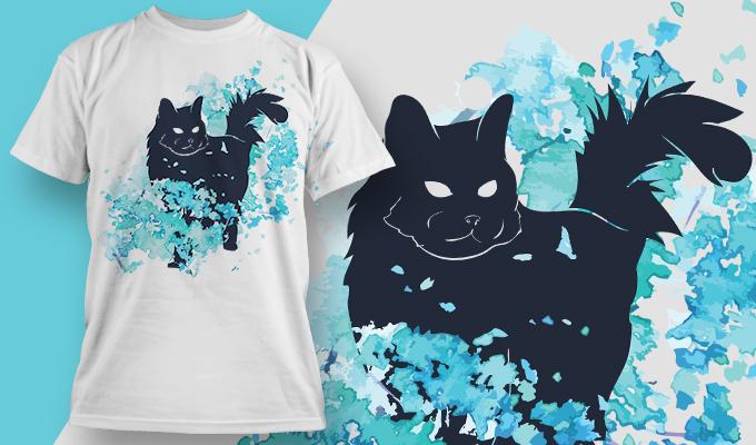 蓝色涂鸦黑色猫咪矢量图服装裁片T恤烫图印花花型素材-POP花型网