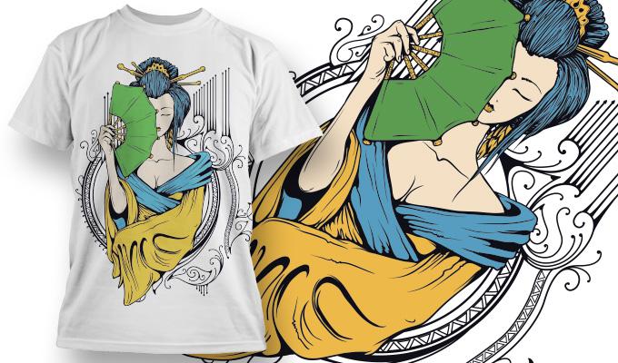 女士人物扇子矢量图服装裁片T恤烫图印花花型素材-POP花型网