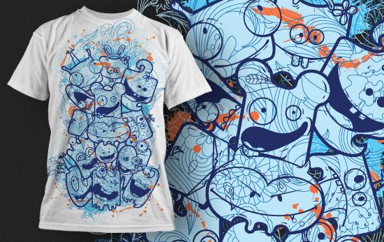 卡通怪兽几何花纹拼接矢量图服装裁片T恤烫图印花花型素材-POP花型网