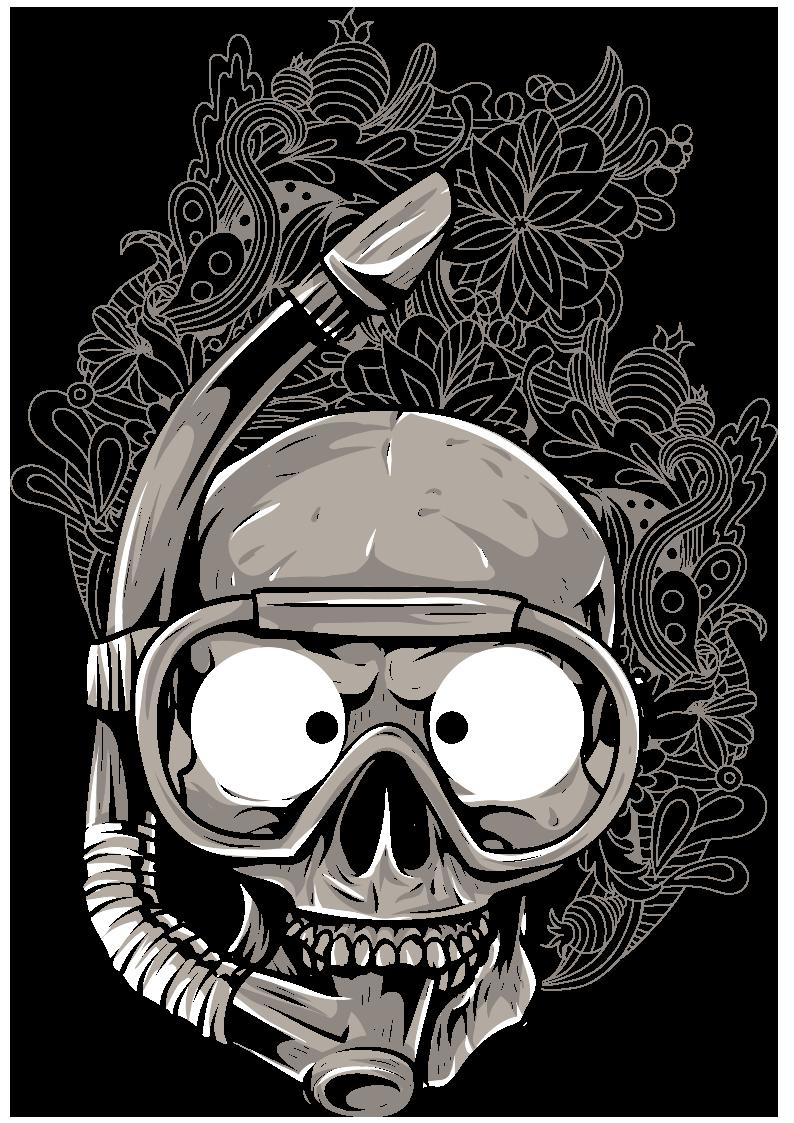 骷髅头潜水镜几何花纹图案服装裁片T恤烫图印花花型素材-POP花型网