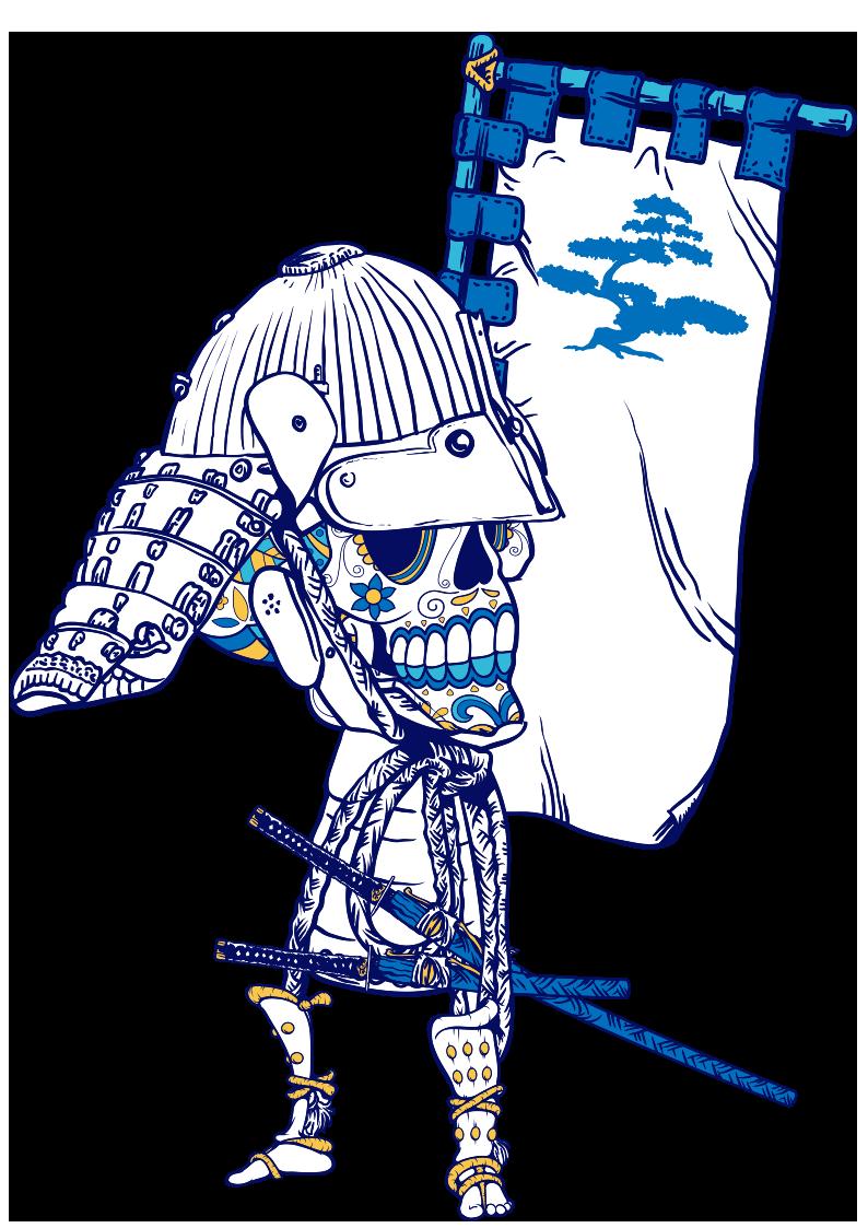 骷髅头日本武士图案服装裁片T恤烫图印花花型素材-POP花型网