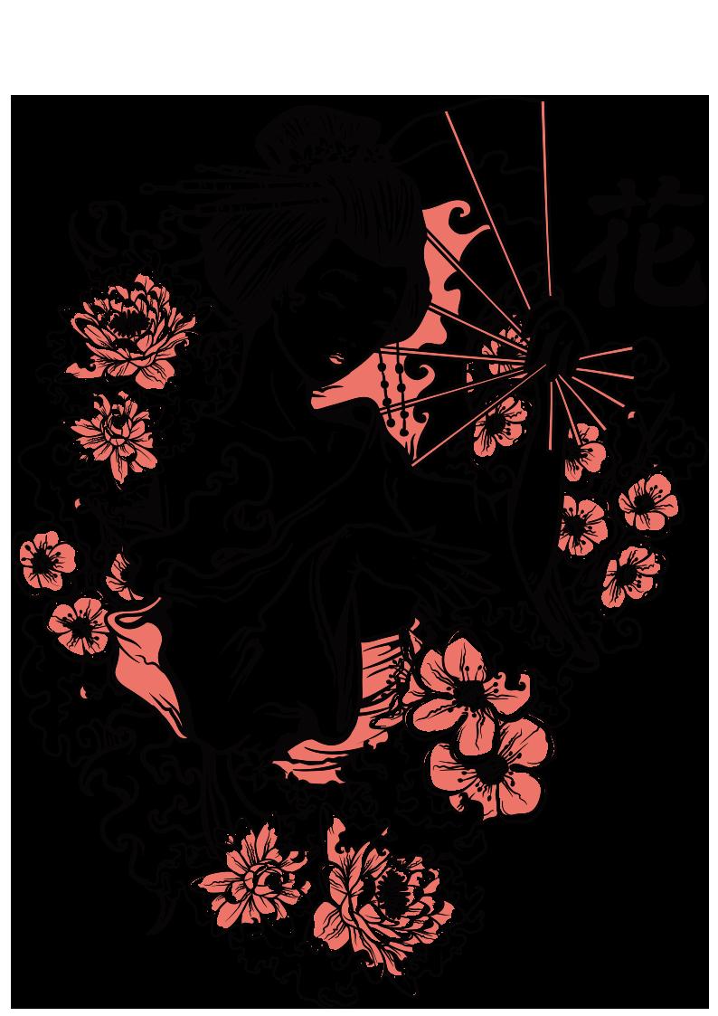 女士人物牡丹花桃花拼接图案服装裁片T恤烫图印花花型素材-POP花型网