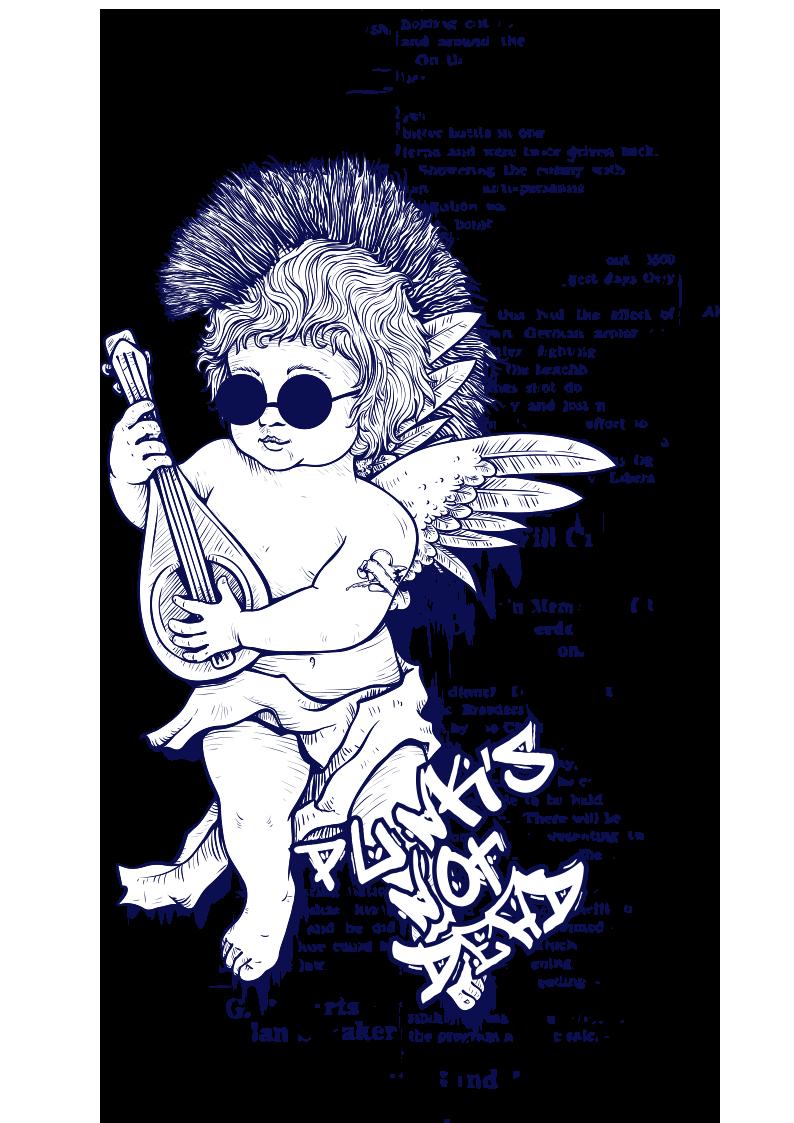 人物天使披头士字母图案服装裁片T恤烫图印花花型素材-POP花型网