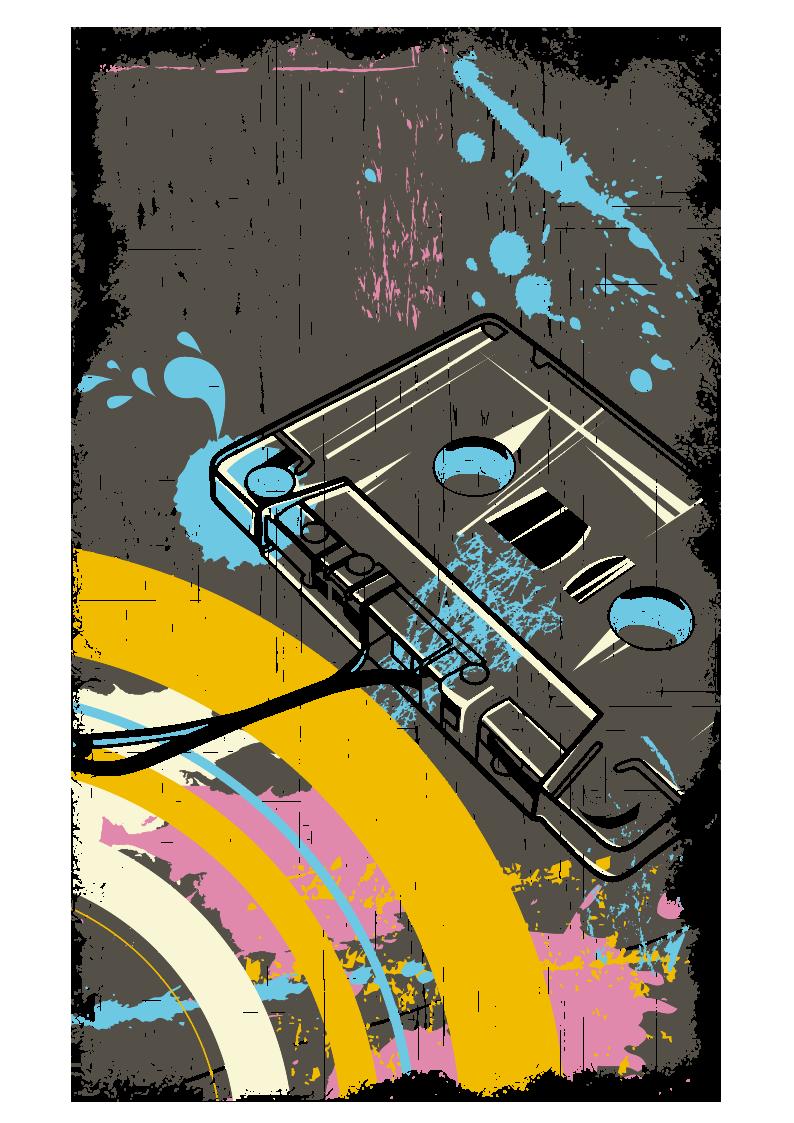 复古线条磁带图案服装裁片T恤烫图印花花型素材-POP花型网