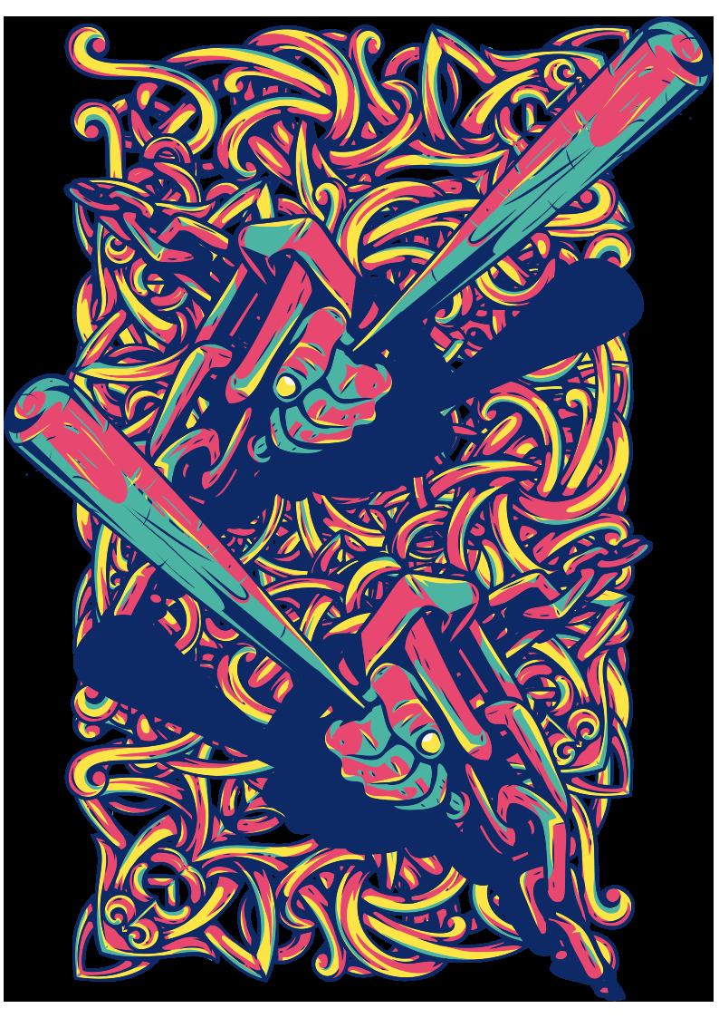 几何拼接花纹棒球棍图案服装裁片T恤烫图印花花型素材-POP花型网