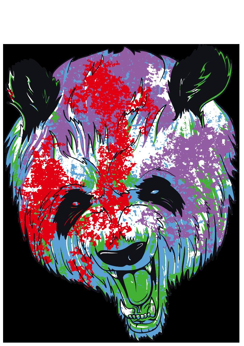 多彩花纹拼接熊猫图像服装裁片T恤烫图印花花型素材-POP花型网