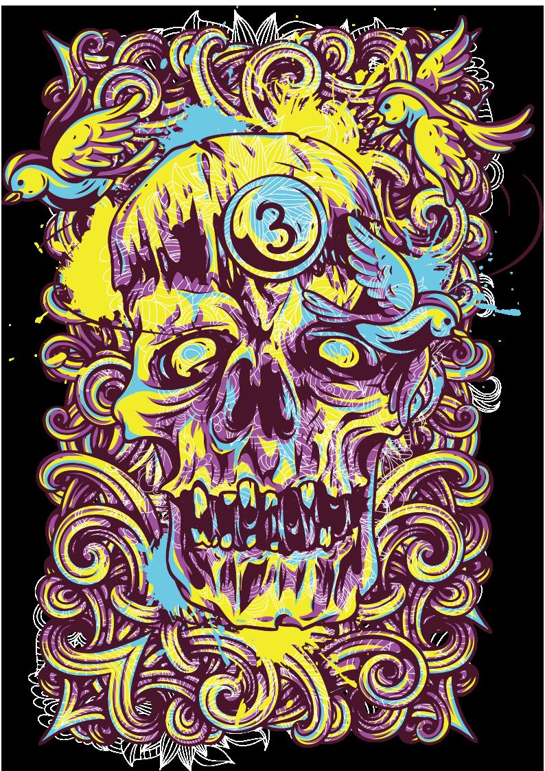 几何拼接花纹小鸟骷髅图案服装裁片T恤烫图印花花型素材-POP花型网