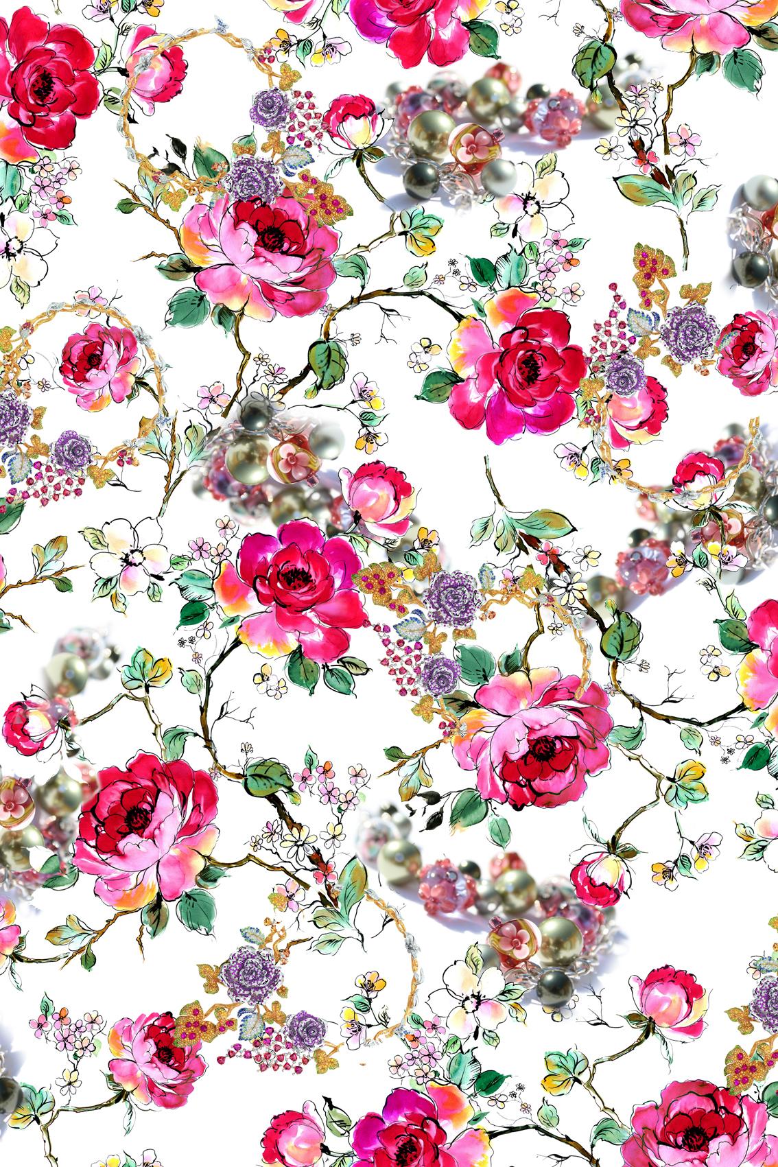 植物牡丹花卉玫瑰花拼接矢量图服装纺织面料数码印花花型素材-POP花型网