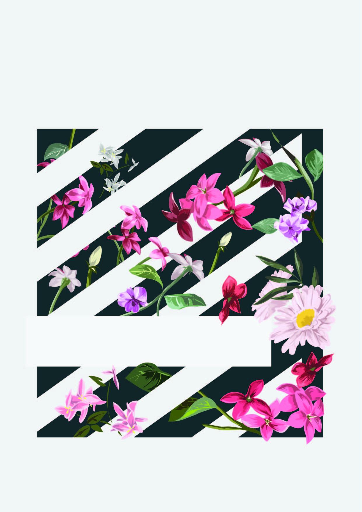 植物花卉几何黑白条矢量图服装裁片T恤烫图印花花型素材-POP花型网
