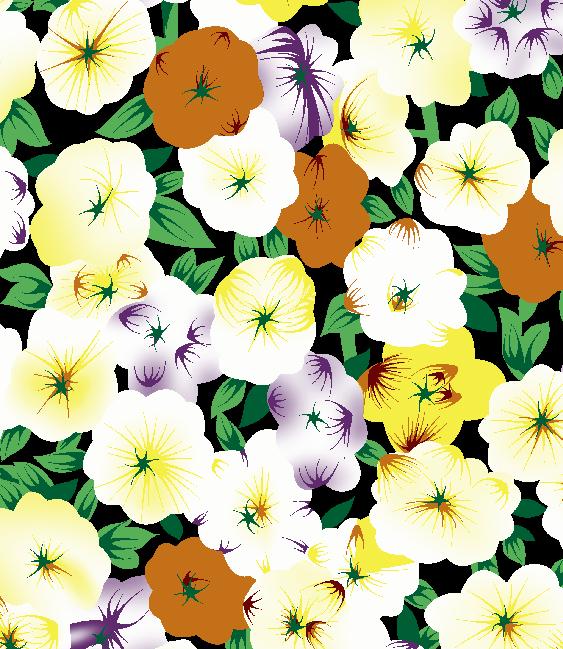 植物花朵拼接矢量图服装纺织面料水印数码印花金昌花型素材-POP花型网
