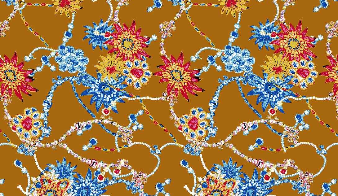 几何链条宝石拼接矢量图服装纺织面料水印数码印花金昌花型素材-POP花型网