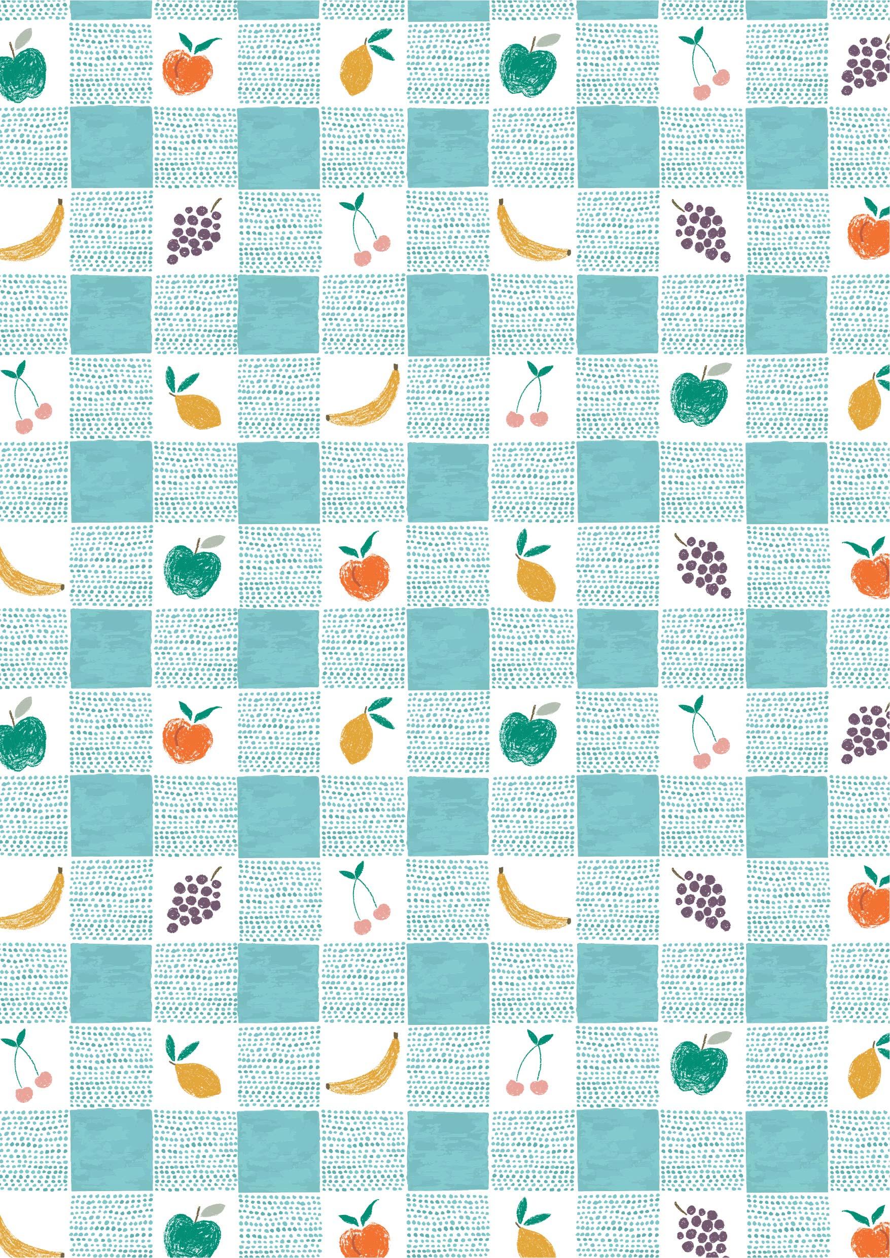 儿童卡通格子水果矢量图服装纺织面料数码印花花型素材-POP花型网