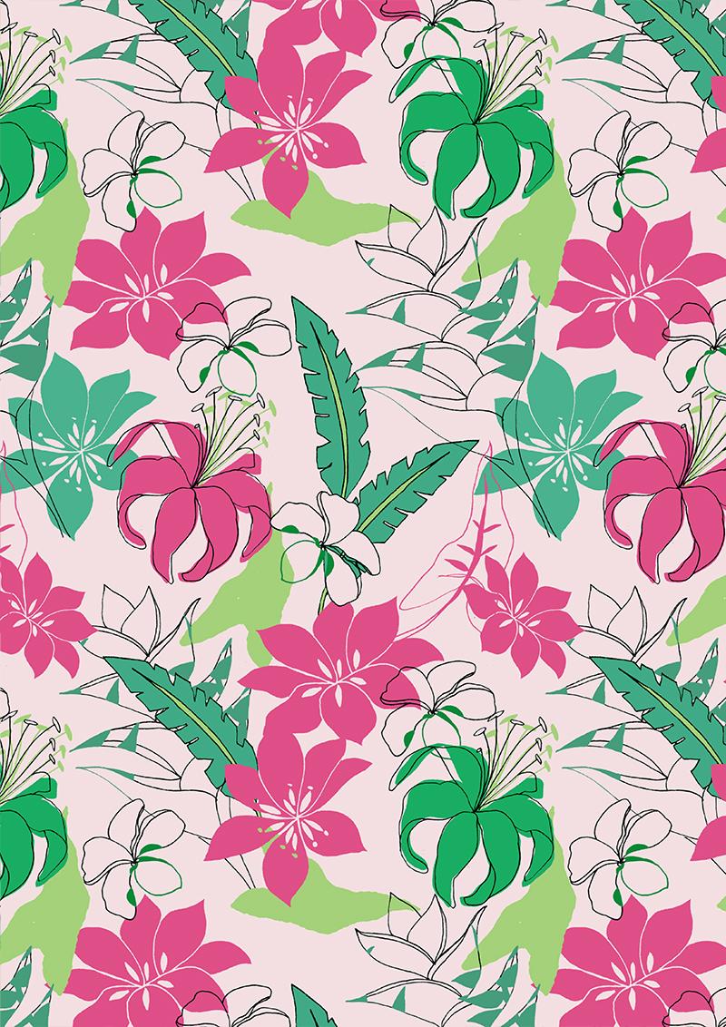 艳丽植物花卉拼接矢量图服装纺织面料数码印花花型素材-POP花型网