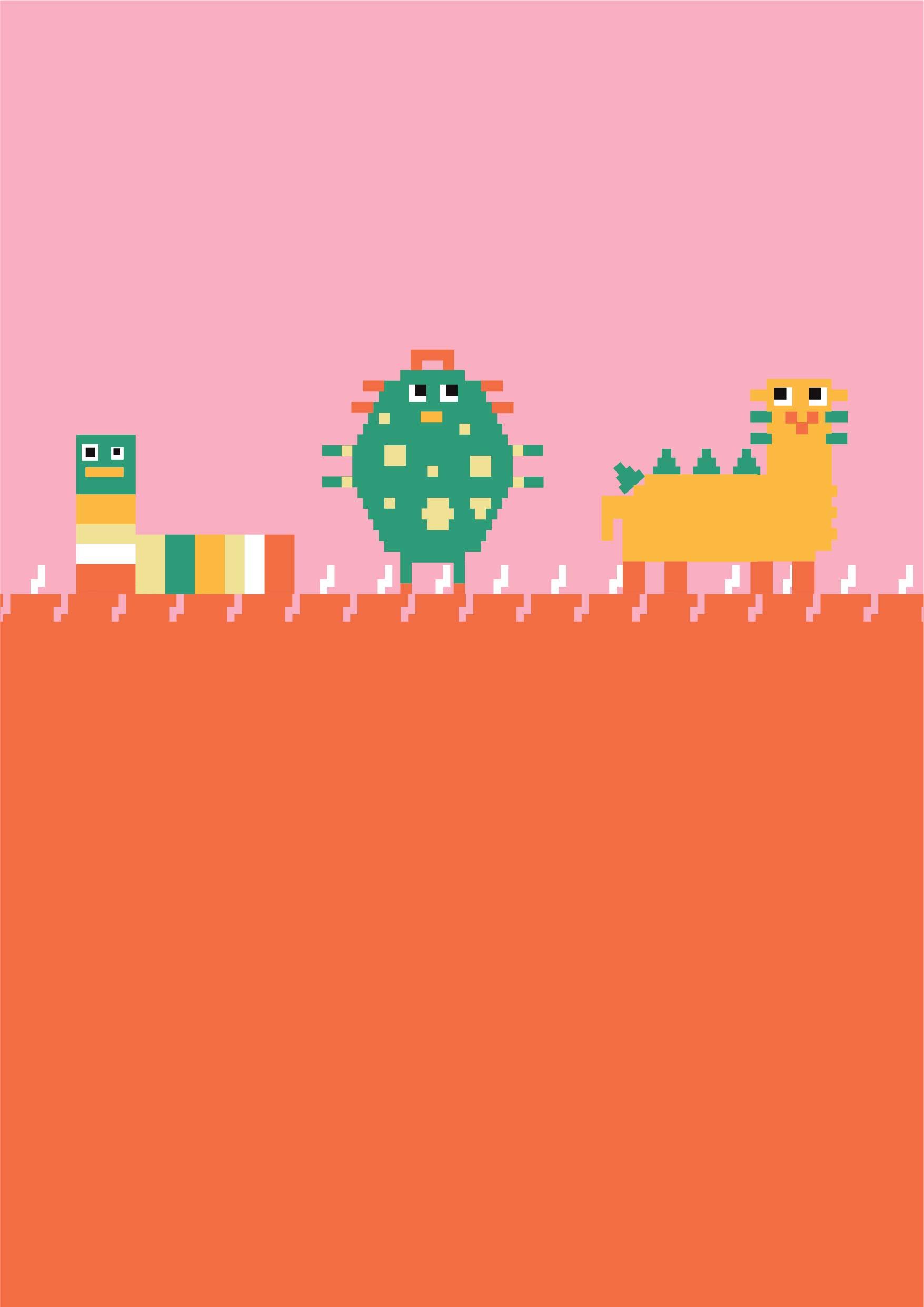 儿童卡通几何怪兽矢量图服装裁片T恤烫图印花花型素材-POP花型网