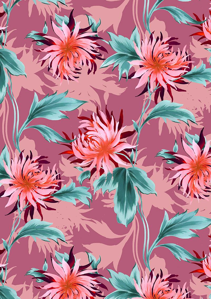 多彩绚丽植物花卉拼接矢量图服装纺织面料数码印花花型素材-POP花型网