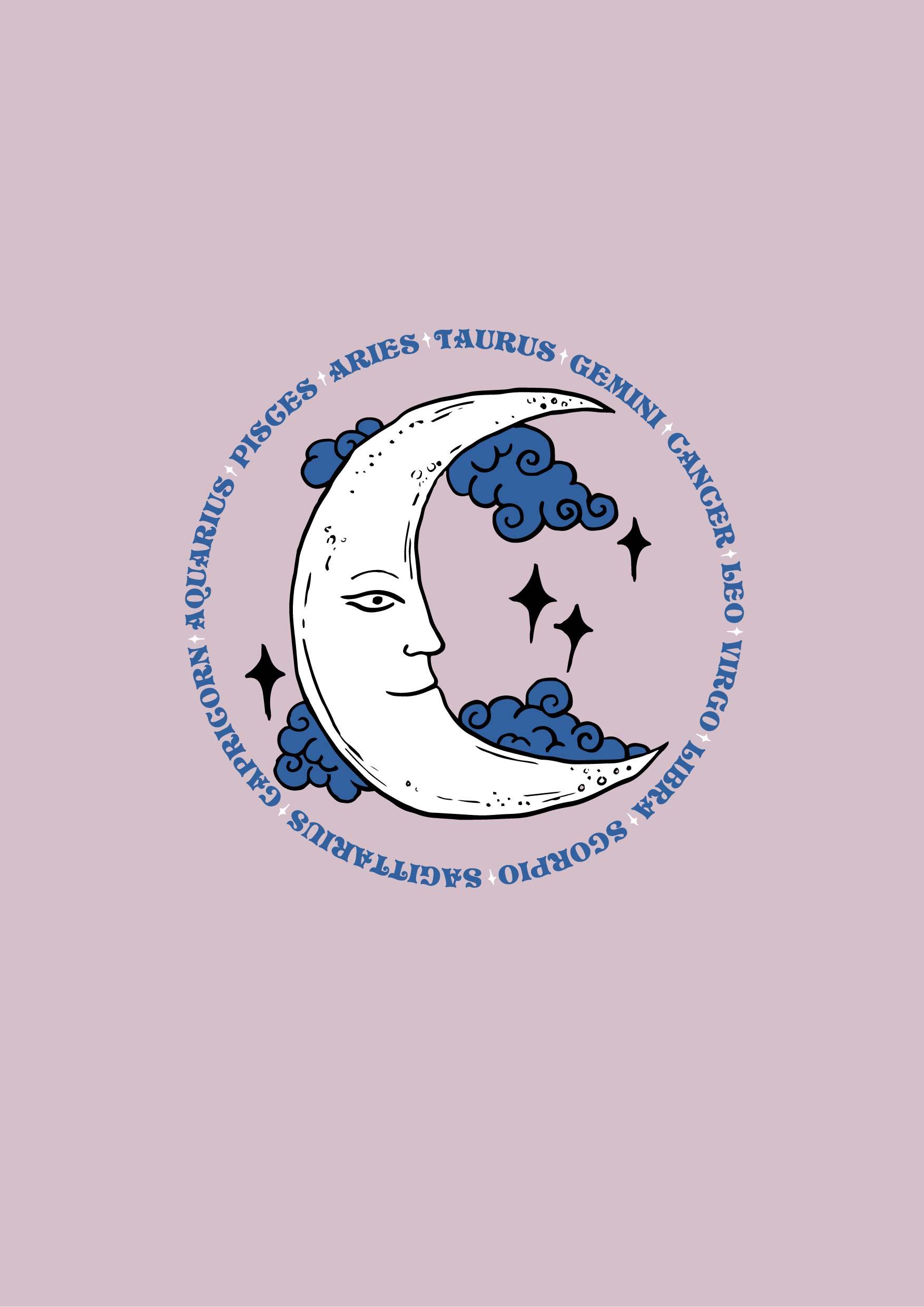 月亮星星几何字母矢量图服装裁片T恤烫图印花花型素材-POP花型网