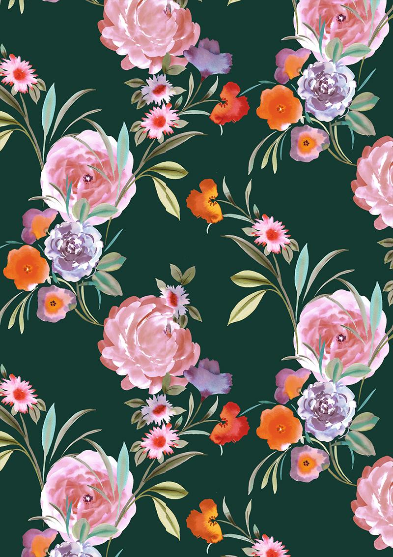 植物牡丹花卉矢量图服装纺织面料数码印花花型素材-POP花型网
