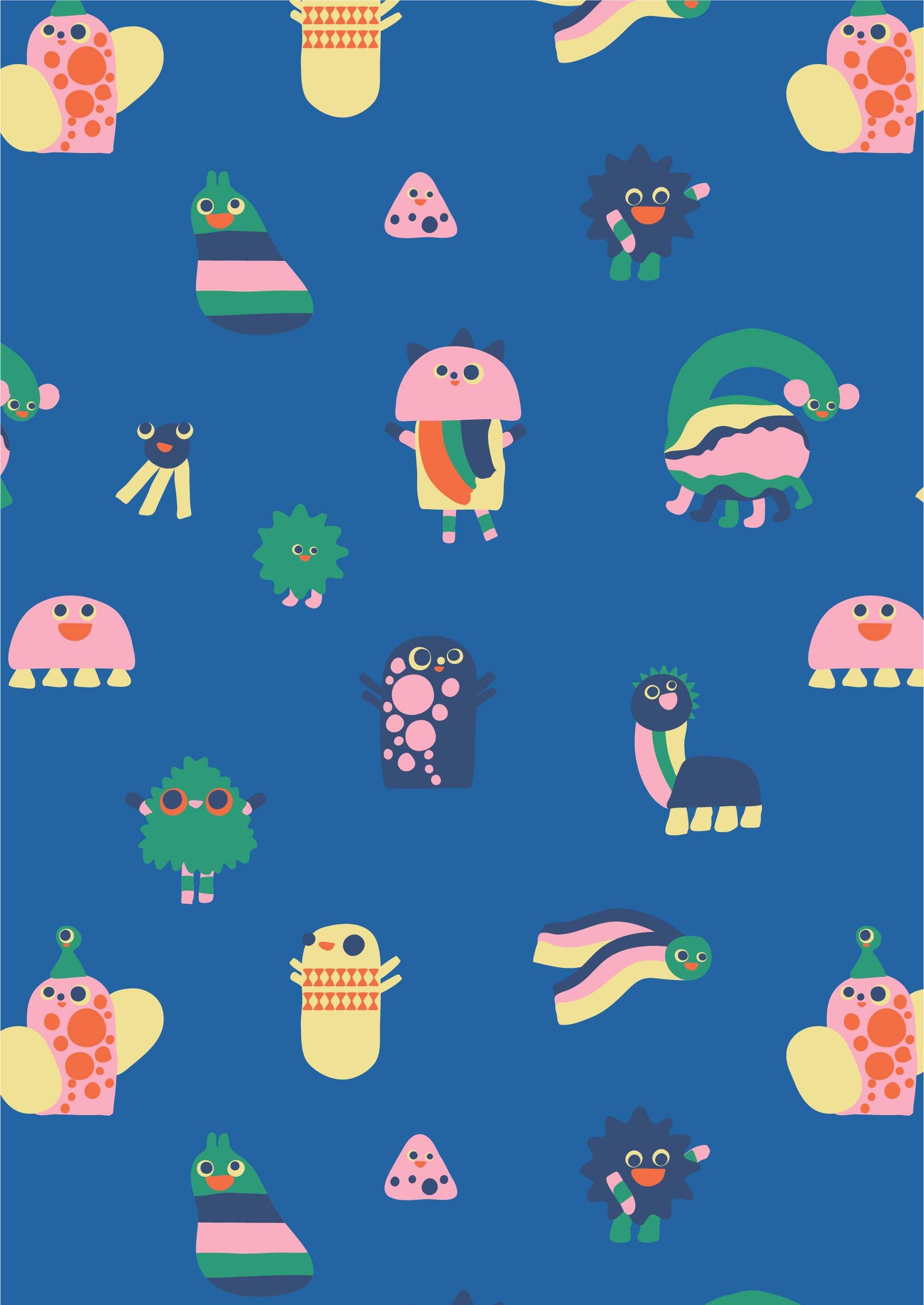 几何儿童卡通印花花型素材服装纺织面料数码印花花型-POP花型网