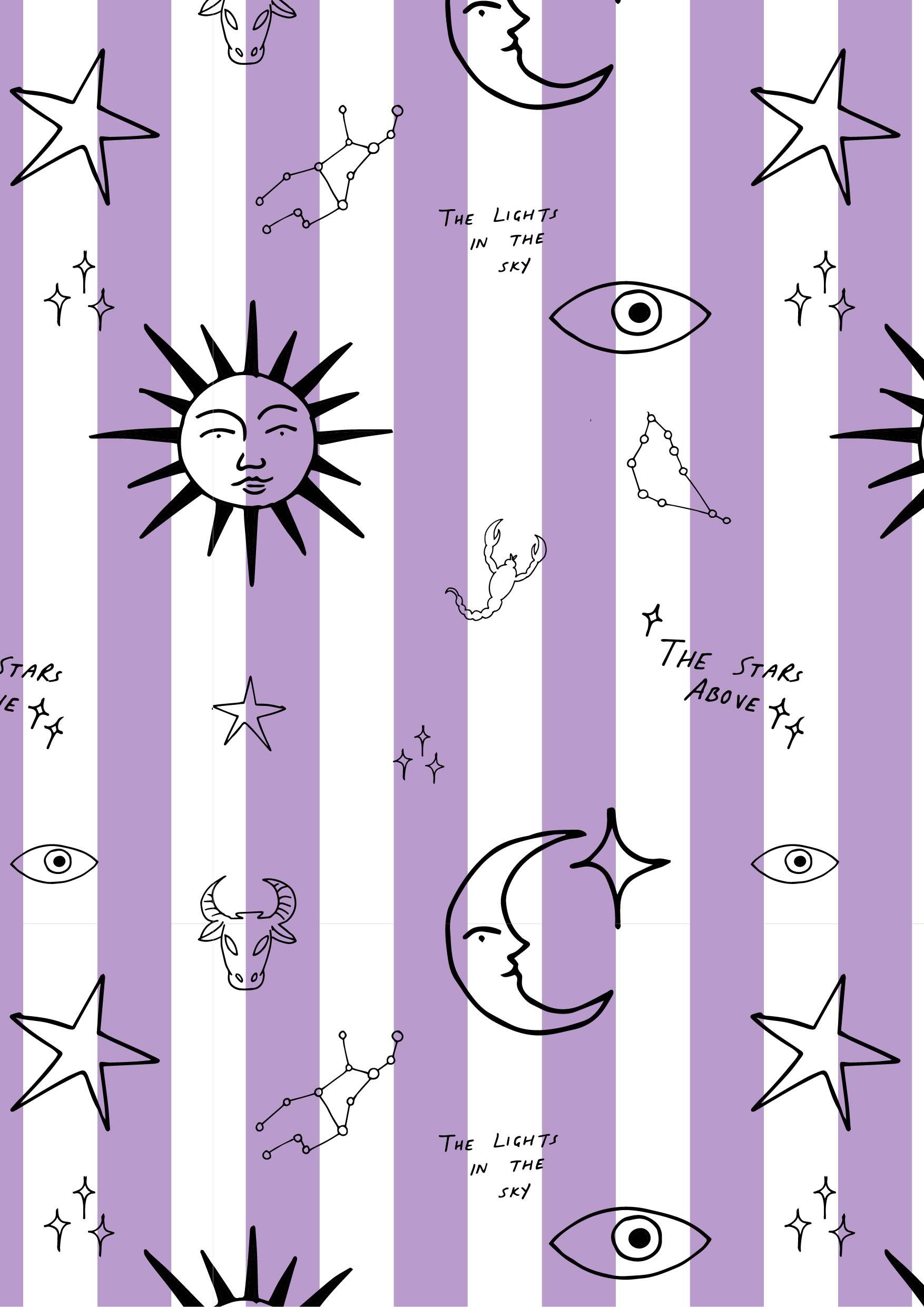 波西米亚风太阳月亮星星字母矢量图条子服装纺织面料数码印花花型素材-POP花型网