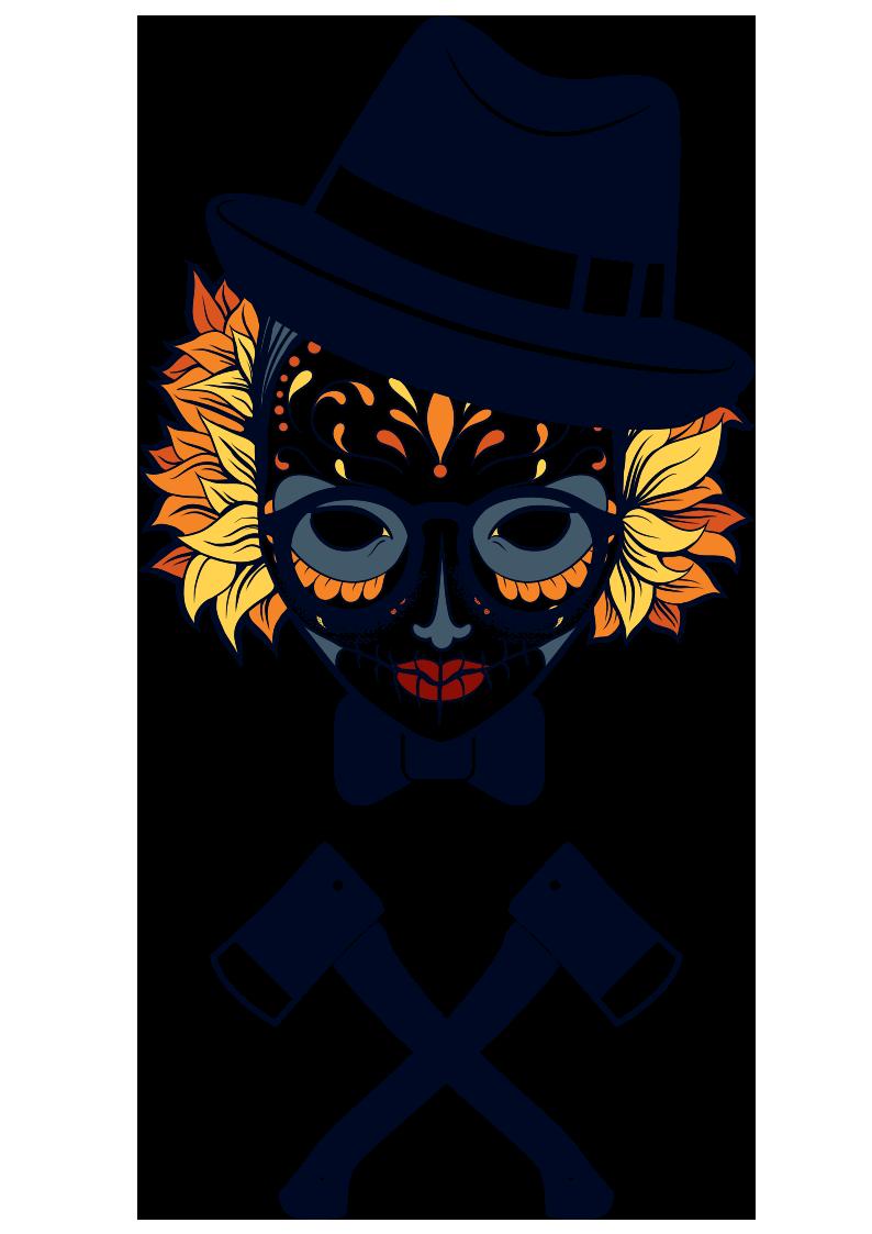 人物小丑斧头图案服装裁片T恤烫图印花花型素材-POP花型网