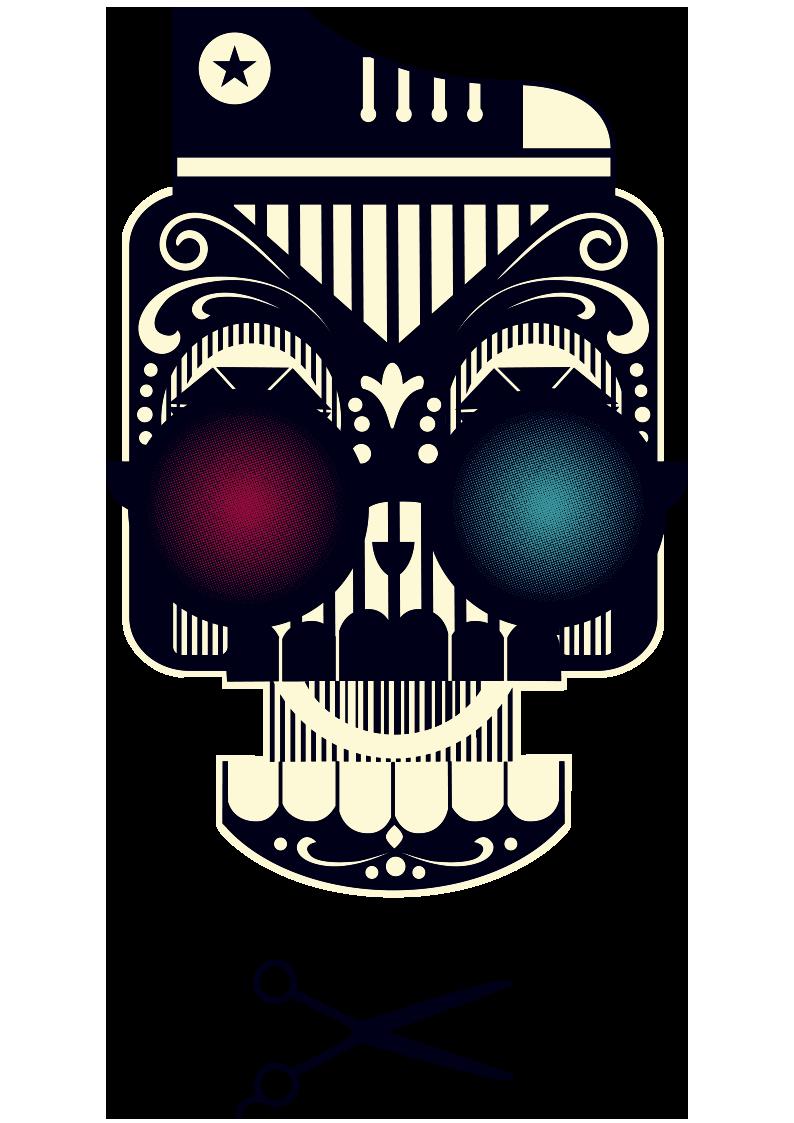 骷髅头朋克风剪刀图案服装裁片T恤烫图印花花型素材-POP花型网
