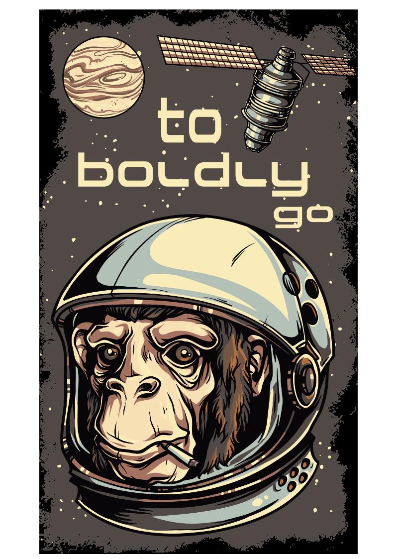 太空卫星动物猩猩图案服装裁片T恤烫图印花花型素材-POP花型网