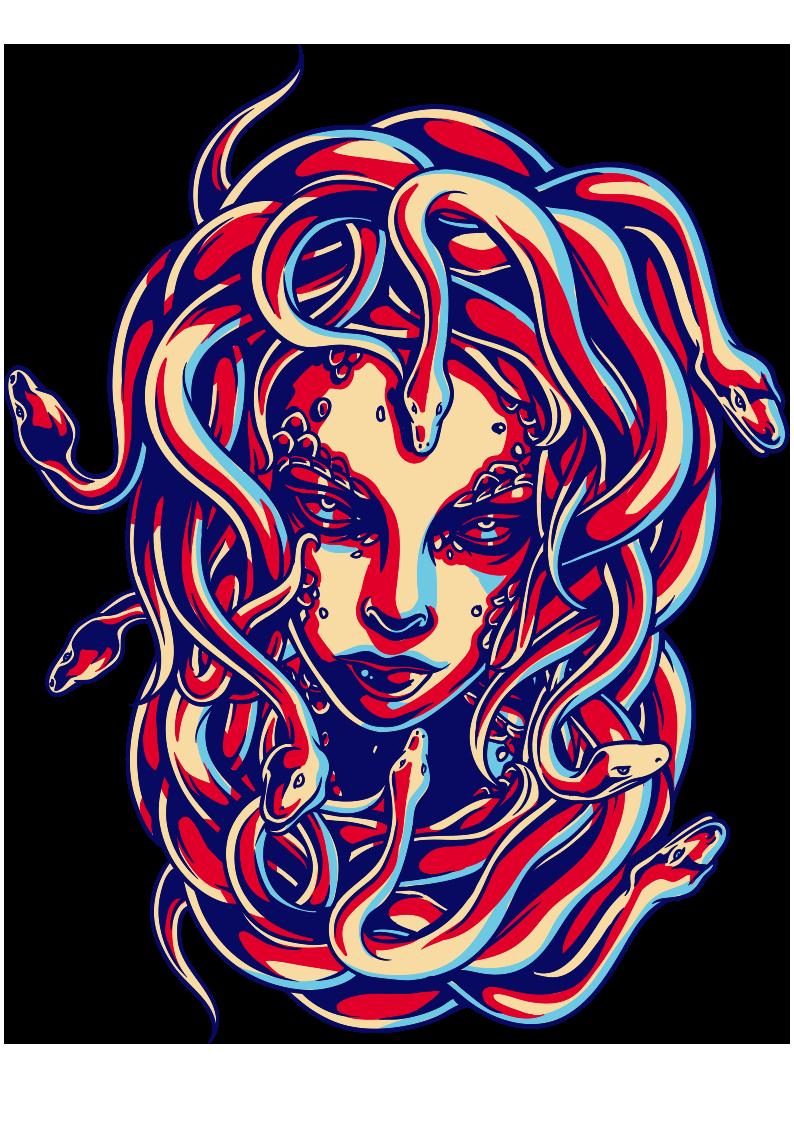 女士人物蛇拼接图案服装裁片T恤烫图印花花型素材-POP花型网