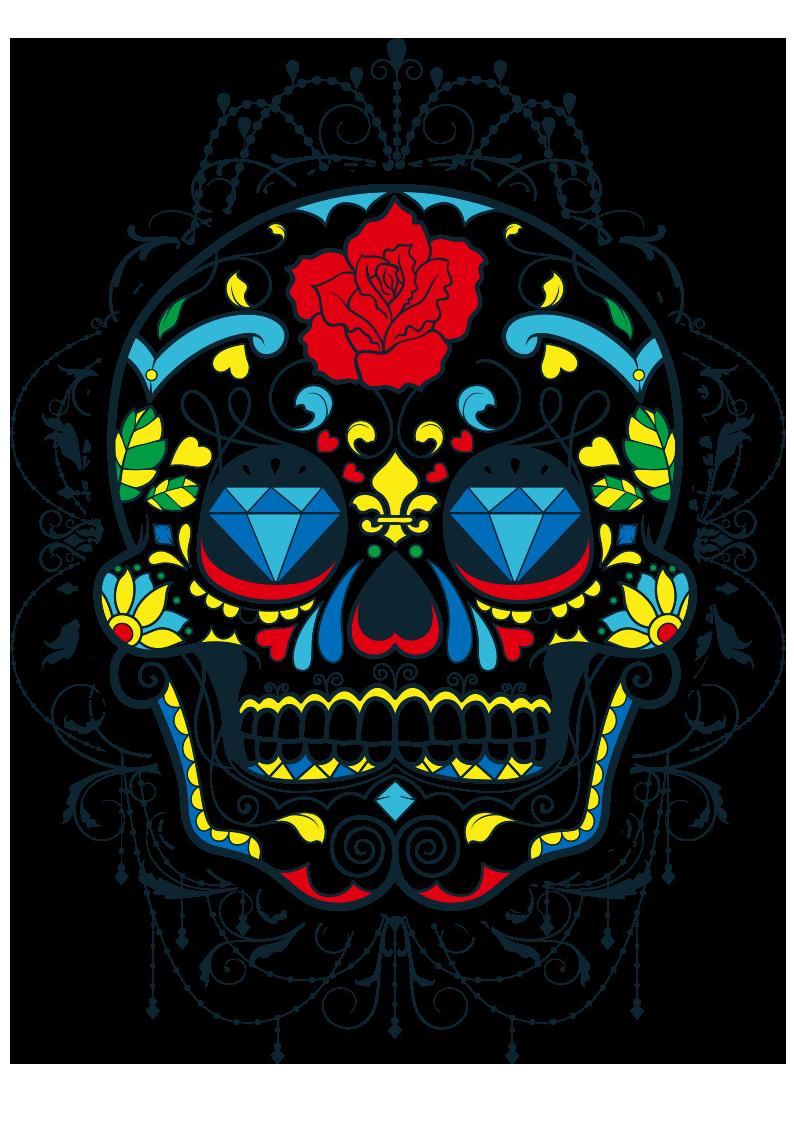 多彩花纹拼接骷髅头图案服装裁片T恤烫图印花花型素材-POP花型网