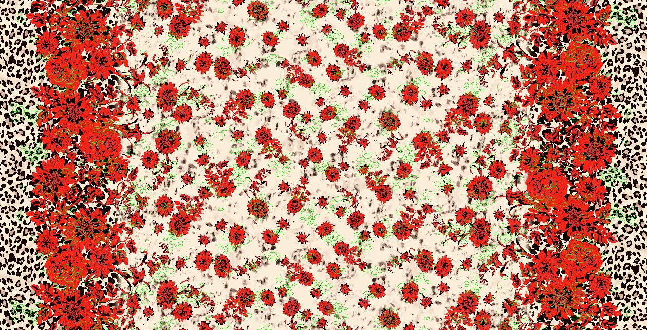 植物牡丹花豹纹拼接矢量图服装纺织面料水印数码印花金昌花型素材-POP花型网
