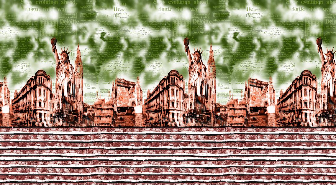 建筑风景自由女神字母拼接矢量图服装纺织面料水印数码印花金昌花型素材-POP花型网