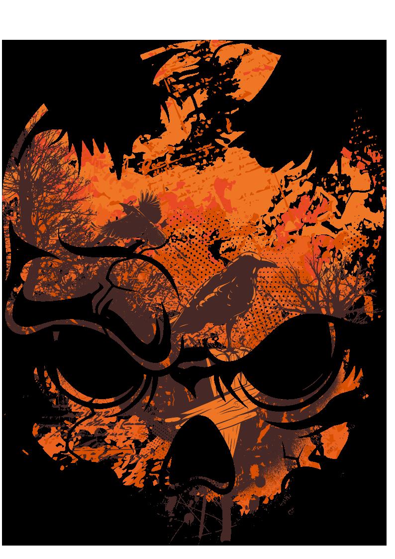 几何乌鸦树木骷髅头图案服装裁片T恤烫图印花花型素材-POP花型网